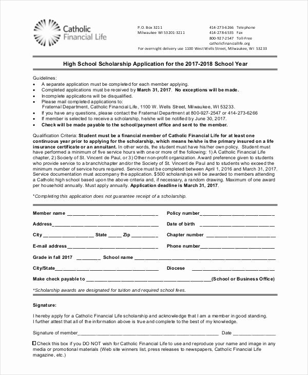 Scholarship Application form Template New 41 Application Templates In Pdf
