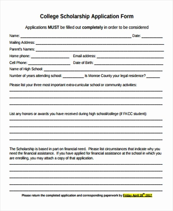Scholarship Application form Template New 48 Application form Templates