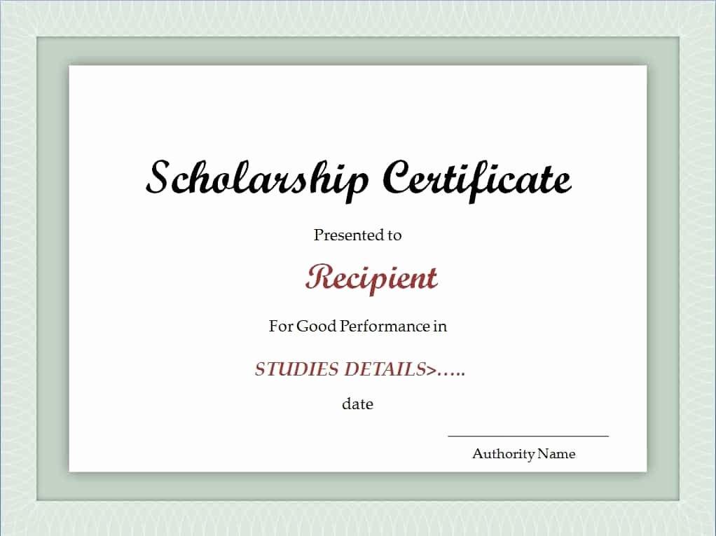 Scholarship Award Certificate Templates Awesome Scholarship Certificate Template Excel Xlts