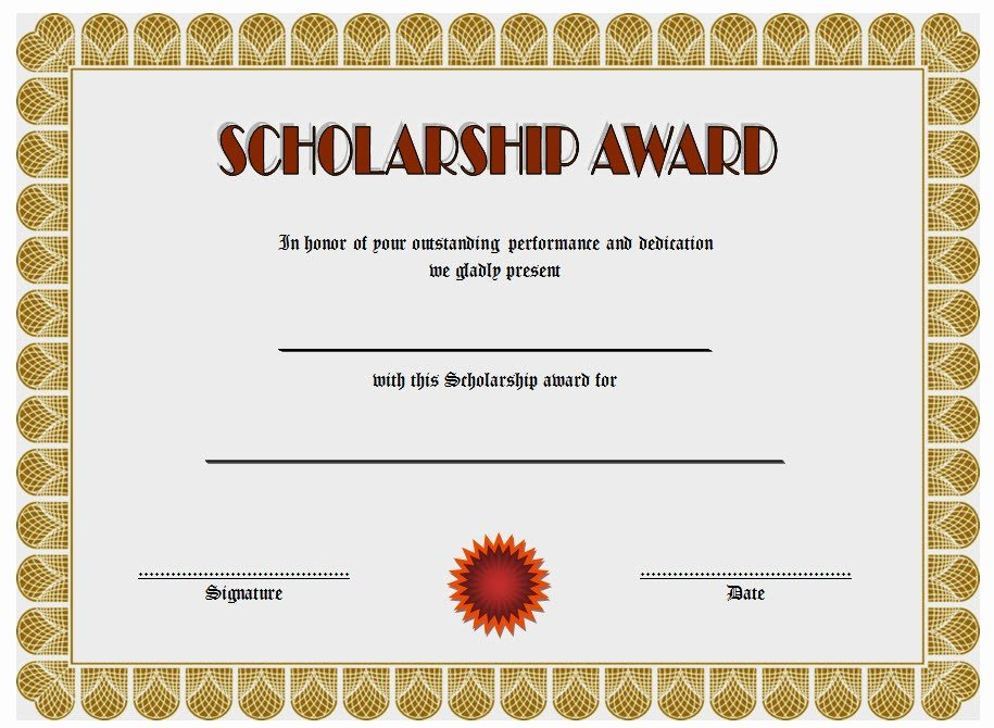 Scholarship Award Certificate Templates Beautiful 10 Scholarship Award Certificate Editable Templates
