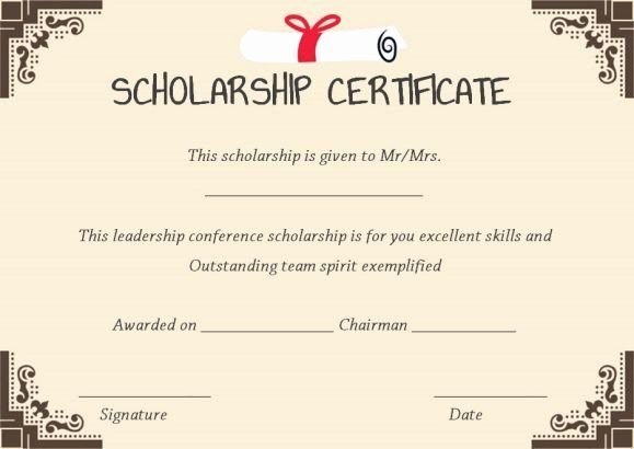 Scholarship Award Certificate Templates Beautiful 11 Best Scholarship Certificate Template Images On