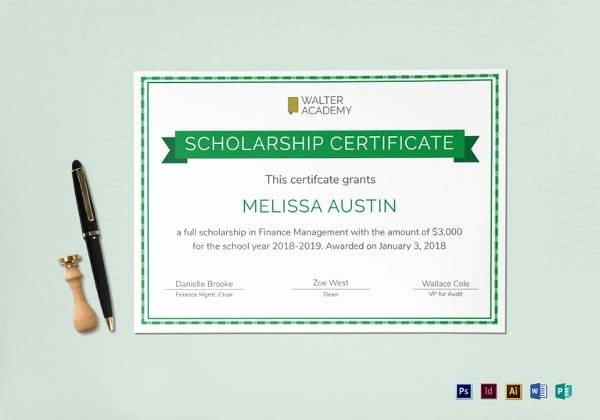 Scholarship Award Certificate Templates Beautiful 7 Scholarship Certificate Templates Word Psd