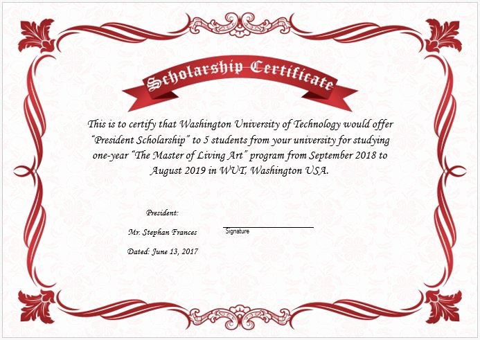Scholarship Award Certificate Templates Beautiful Scholarship Award Certificate Template