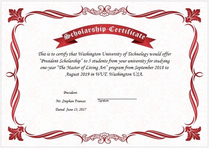 Scholarship Award Certificate Templates Beautiful Scholarship Award Certificate Template