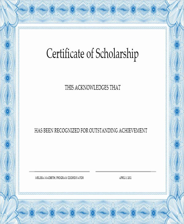 Scholarship Award Certificate Templates Best Of 31 Award Certificates In Word format