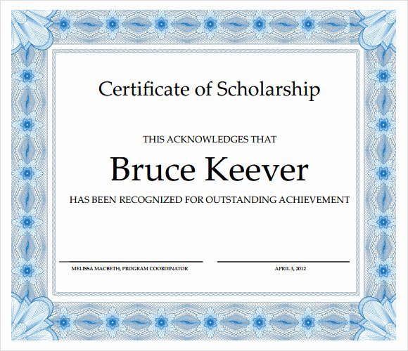 Scholarship Award Certificate Templates Best Of Sample Scholarship Certificate Template 9 Documents In