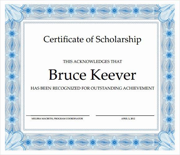 Scholarship Award Certificate Templates Best Of Sample Scholarship Certificate Template 9 Documents In