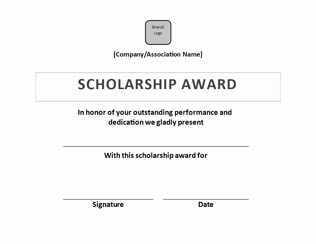 scholarship award certificate sample