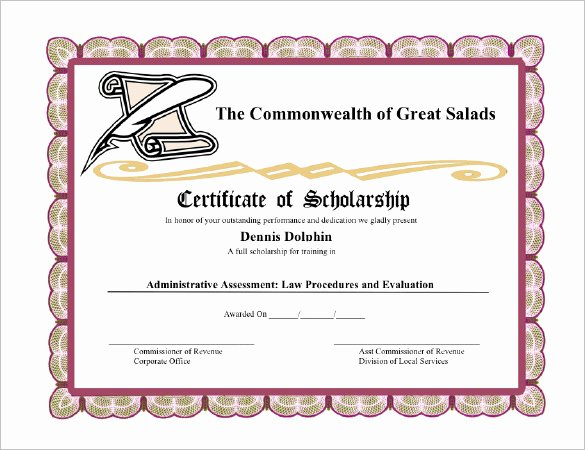 Scholarship Award Certificate Templates Fresh Certificate Templates 89 Elegant Award Certificates for