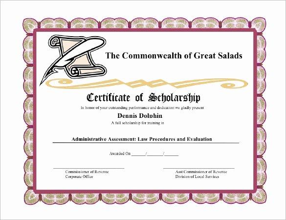 Scholarship Award Certificate Templates Fresh Certificate Templates 89 Elegant Award Certificates for