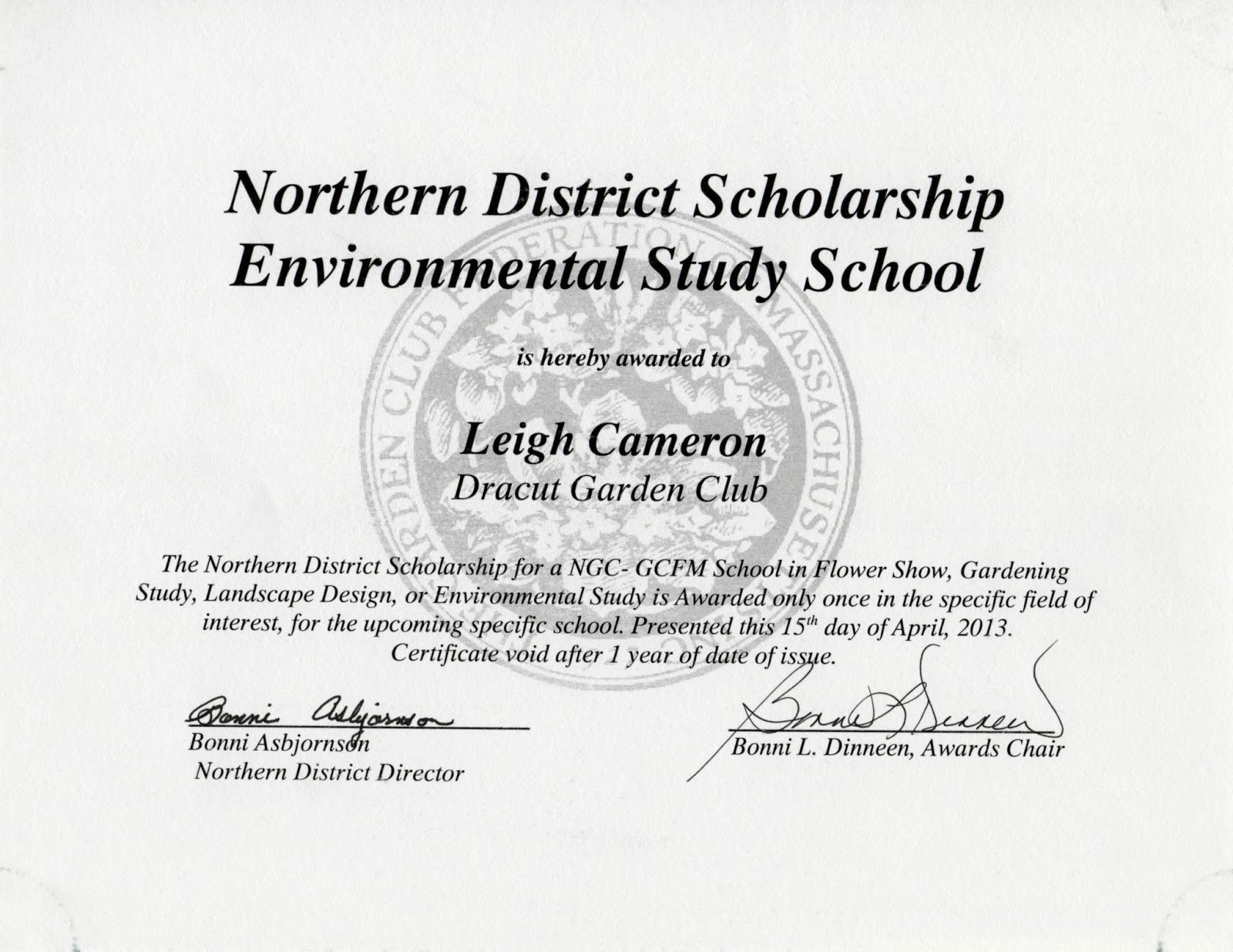 Scholarship Award Certificate Templates Fresh Dracut Garden Club Awards