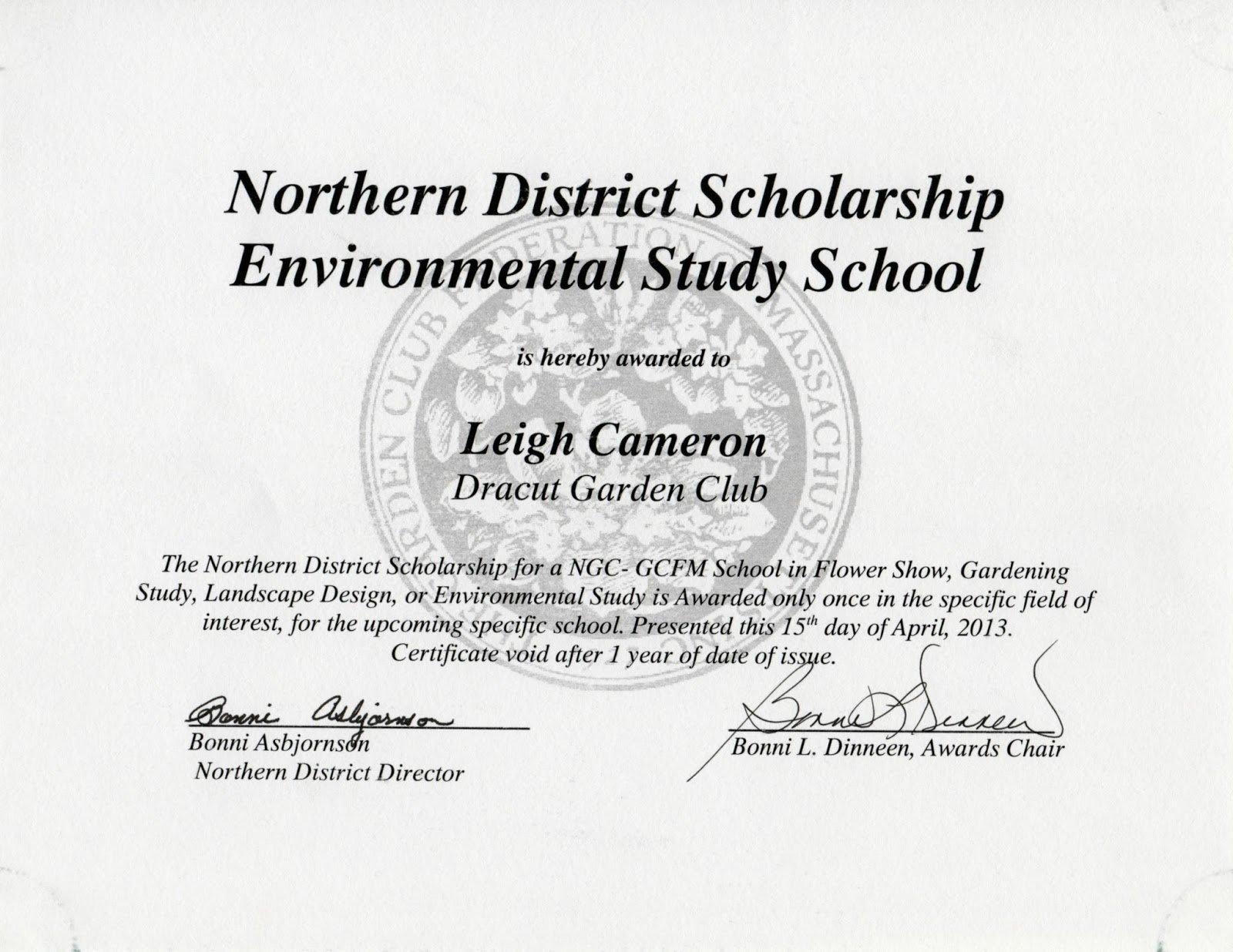 Scholarship Award Certificate Templates Fresh Dracut Garden Club Awards