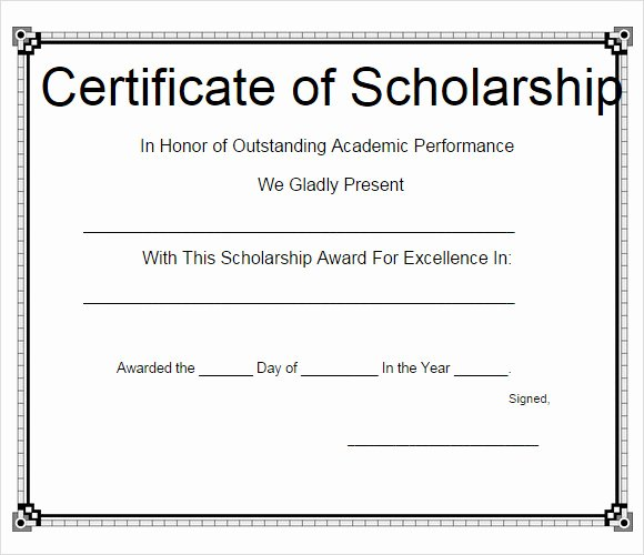 Scholarship Award Certificate Templates Fresh Sample Scholarship Certificate Template 9 Documents In