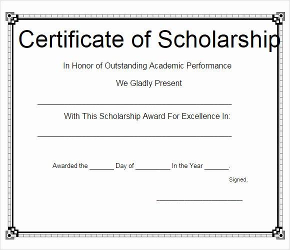 Scholarship Award Certificate Templates Fresh Sample Scholarship Certificate Template 9 Documents In