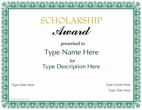 Scholarship Award Certificate Templates Fresh Special Certificates Scholarship Award