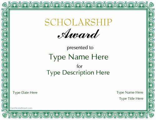 Scholarship Award Certificate Templates Fresh Special Certificates Scholarship Award