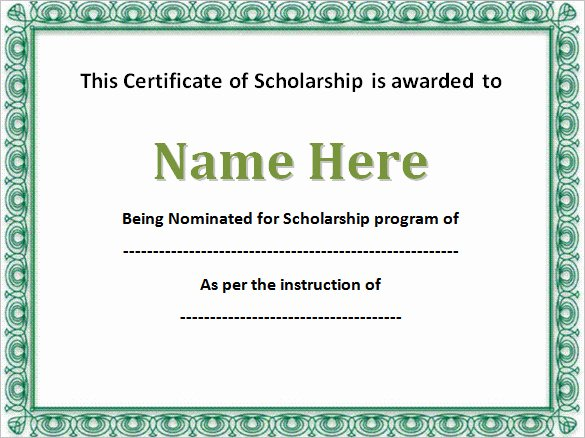 Scholarship Award Certificate Templates Lovely 43 formal and Informal Editable Certificate Template