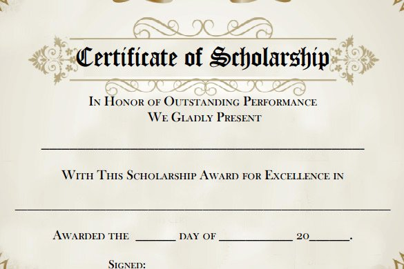 Scholarship Award Certificate Templates Lovely 7 Scholarship Certificate Templates Word Psd