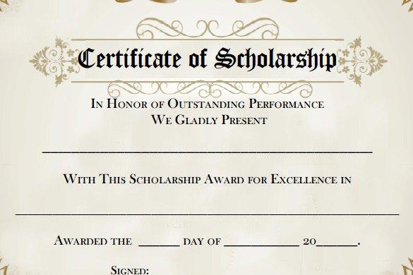 Scholarship Award Certificate Templates Lovely 7 Scholarship Certificate Templates Word Psd