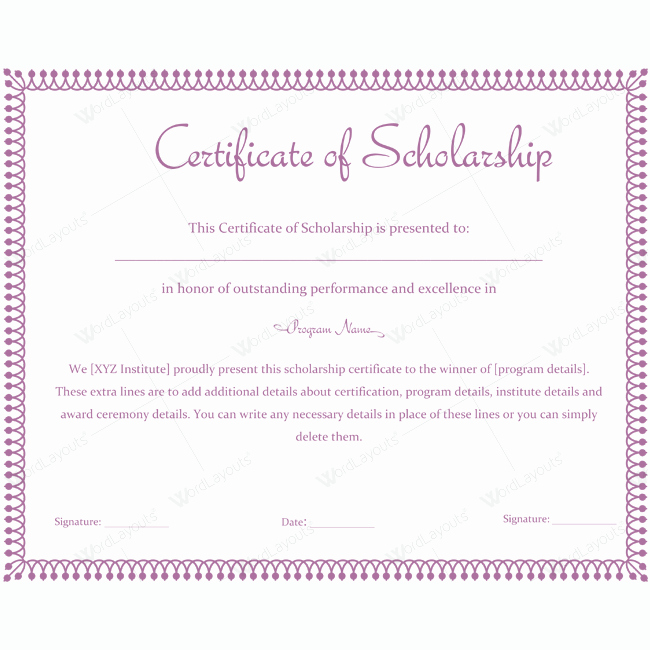 Scholarship Award Certificate Templates Lovely Certificate Of Scholarship 10