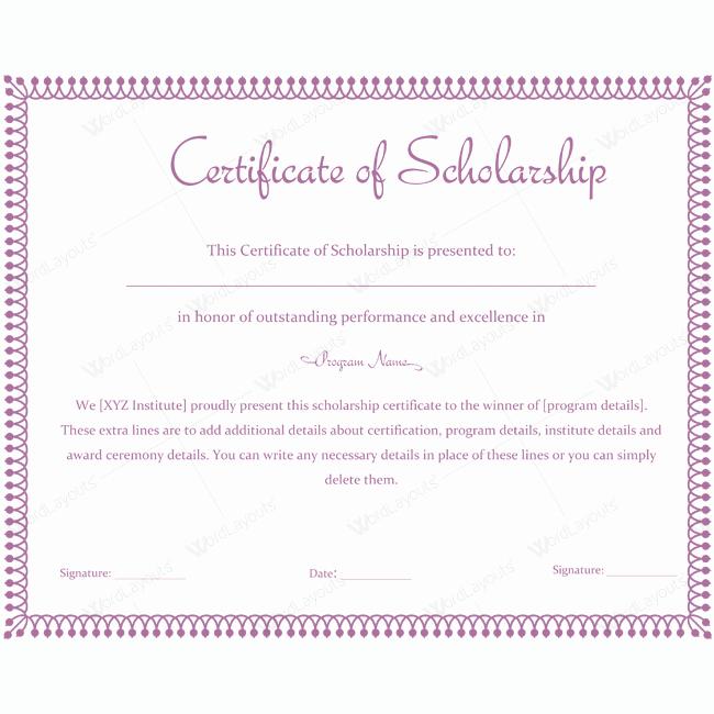 Scholarship Award Certificate Templates Lovely Certificate Of Scholarship 10
