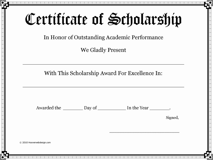 Scholarship Award Certificate Templates Lovely Certificate Of Scholarship Pto Teacher Gifts