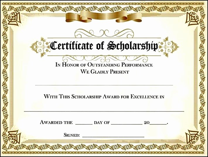 Scholarship Award Certificate Templates Lovely Scholarship Award Certificate