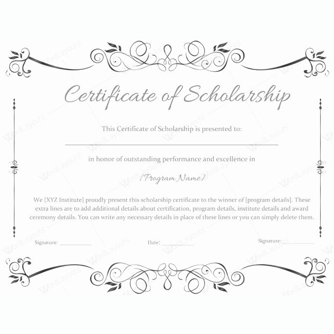 Scholarship Award Certificate Templates Luxury 89 Elegant Award Certificates for Business and School events