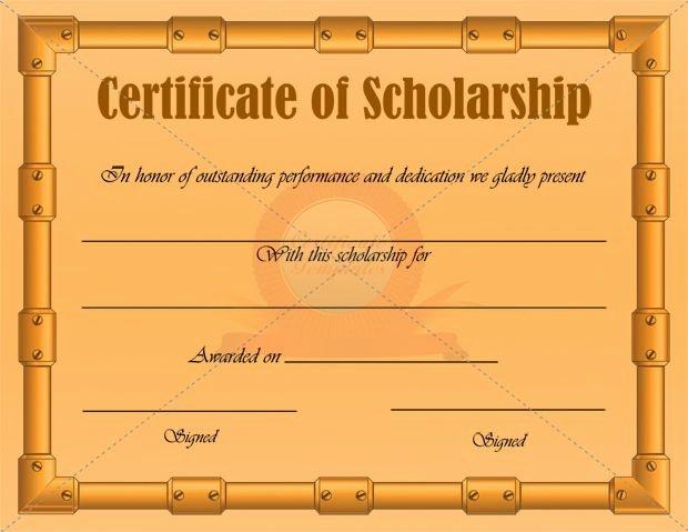 Scholarship Award Certificate Templates Luxury Scholarship Certificate Template
