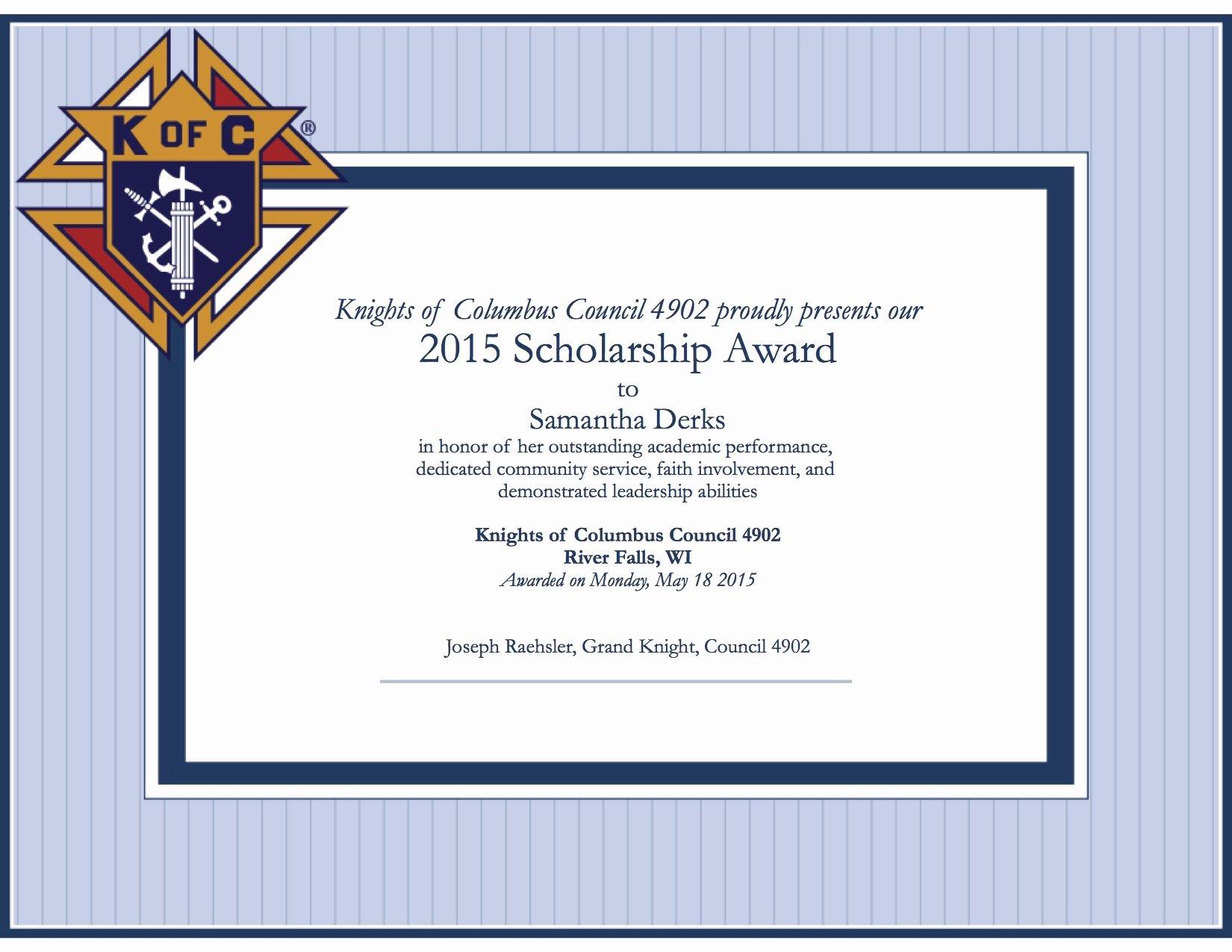 Scholarship Award Certificate Templates Luxury Scholarship Winners – Knights Of Columbus 4902 River