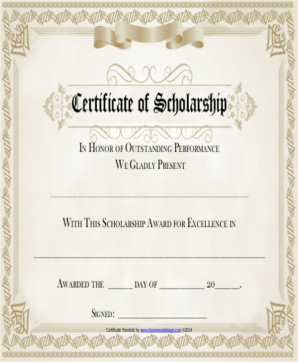 Scholarship Award Certificate Templates New 19 Sample Award Certificates Word Psd Ai Eps Vector
