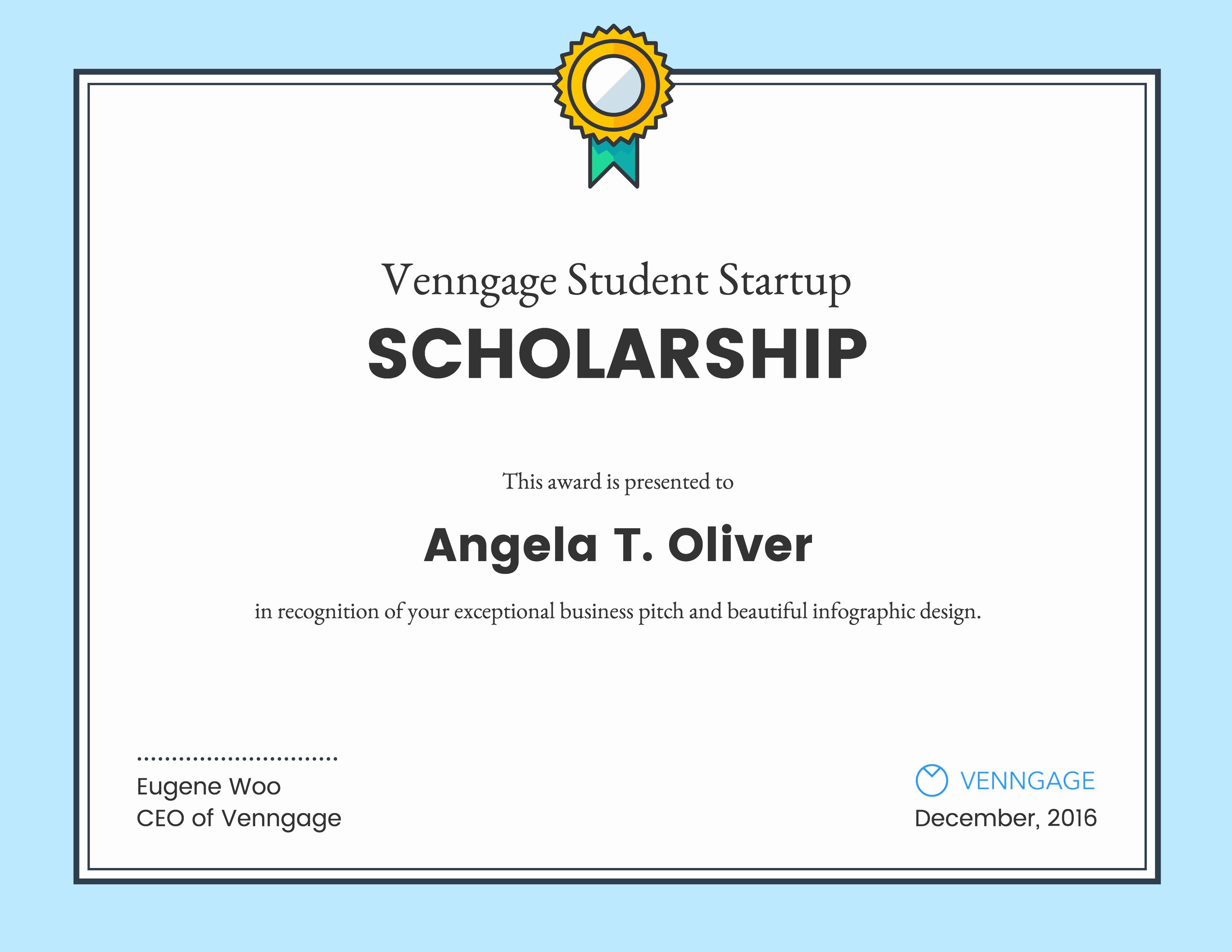 Scholarship Award Certificate Templates New Venngage Student Scholarship Winners Venngage