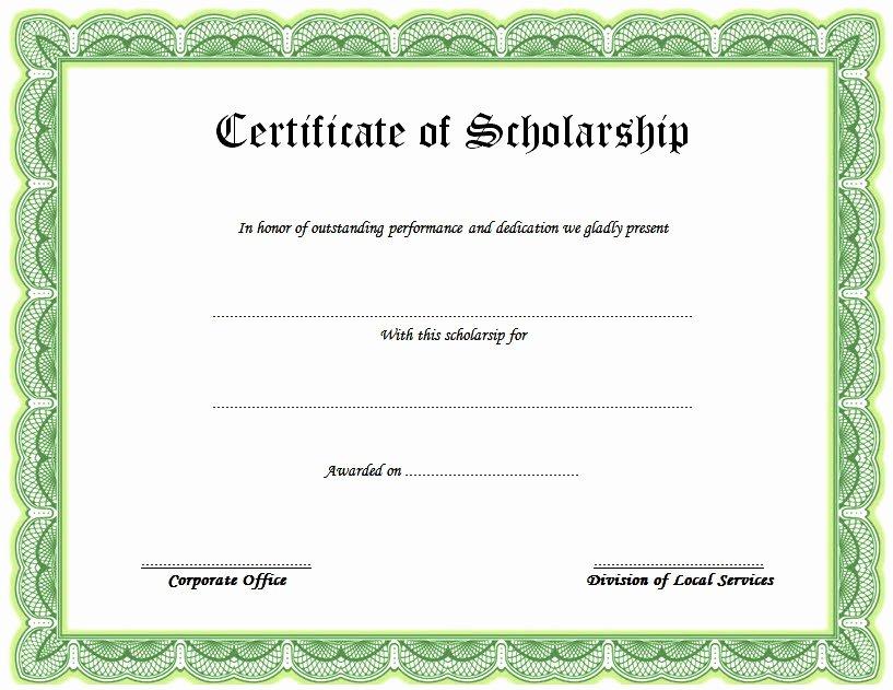 Scholarship Award Certificate Templates Unique 10 Scholarship Award Certificate Examples Pdf Psd Ai