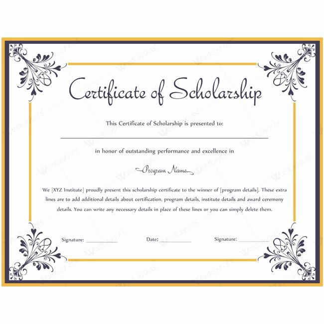 Scholarship Award Certificate Templates Unique 13 Best Certificate Of Scholarship Templates Images On
