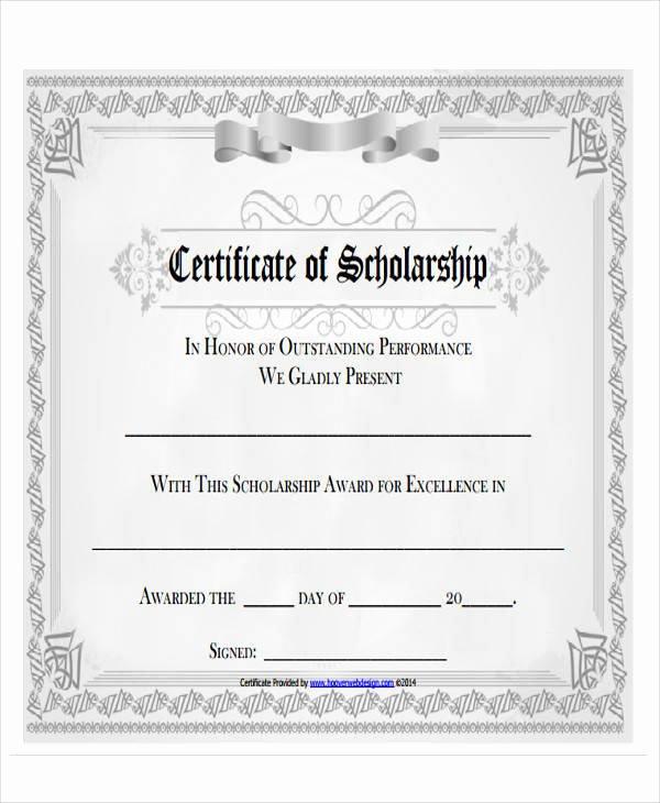 Scholarship Award Certificate Templates Unique 43 Printable Award Certificates Word Psd Ai Eps Vector