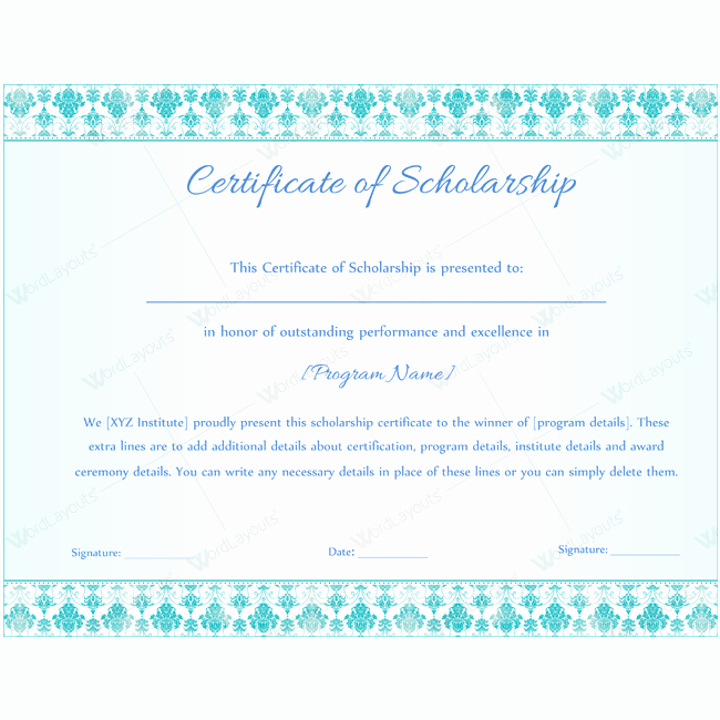 Scholarship Award Certificate Templates Unique Scholarship Certificate Template Doc