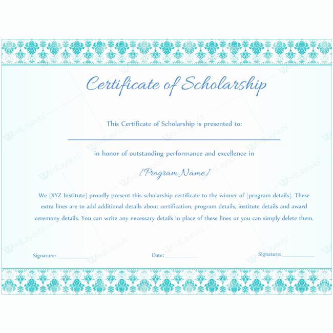 Scholarship Award Certificate Templates Unique Scholarship Certificate Template Doc