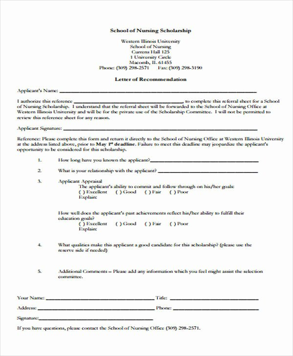 Scholarship Letters Of Recommendation Template Awesome 9 Scholarship Re Mendation Letter Samples & Templates
