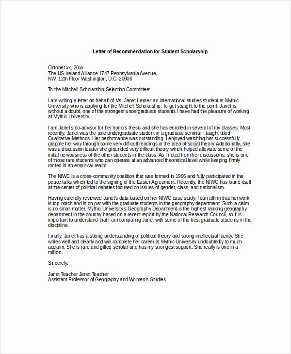 Scholarship Letters Of Recommendation Template Awesome Scholarship Re Mendation Letter