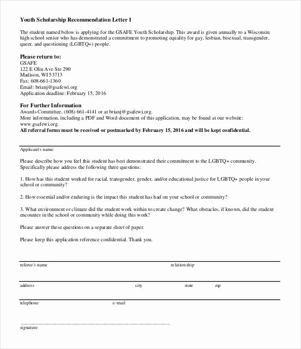 Scholarship Letters Of Recommendation Template Best Of 27 Letters Of Re Mendation for Scholarship Pdf Doc