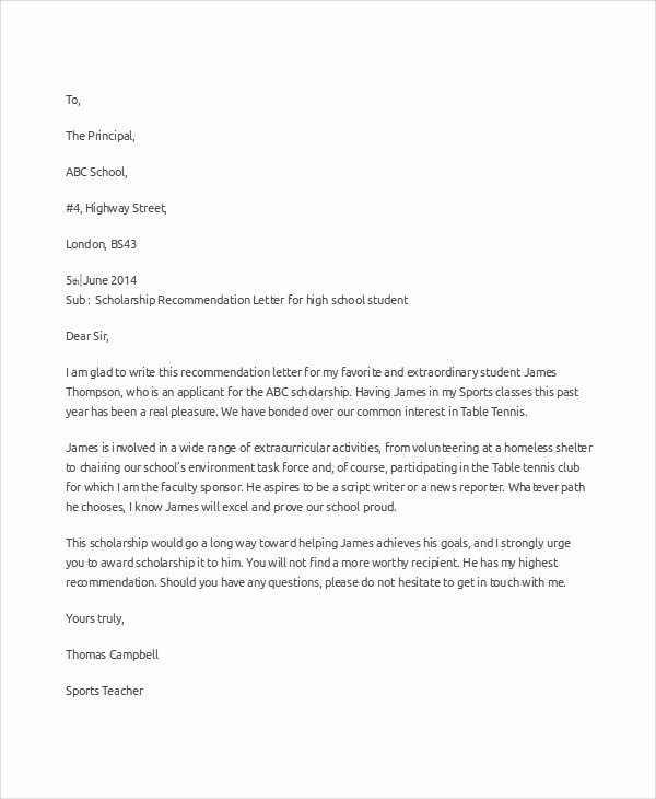 Scholarship Letters Of Recommendation Template Best Of Sample Scholarship Re Mendation Letter 7 Examples In