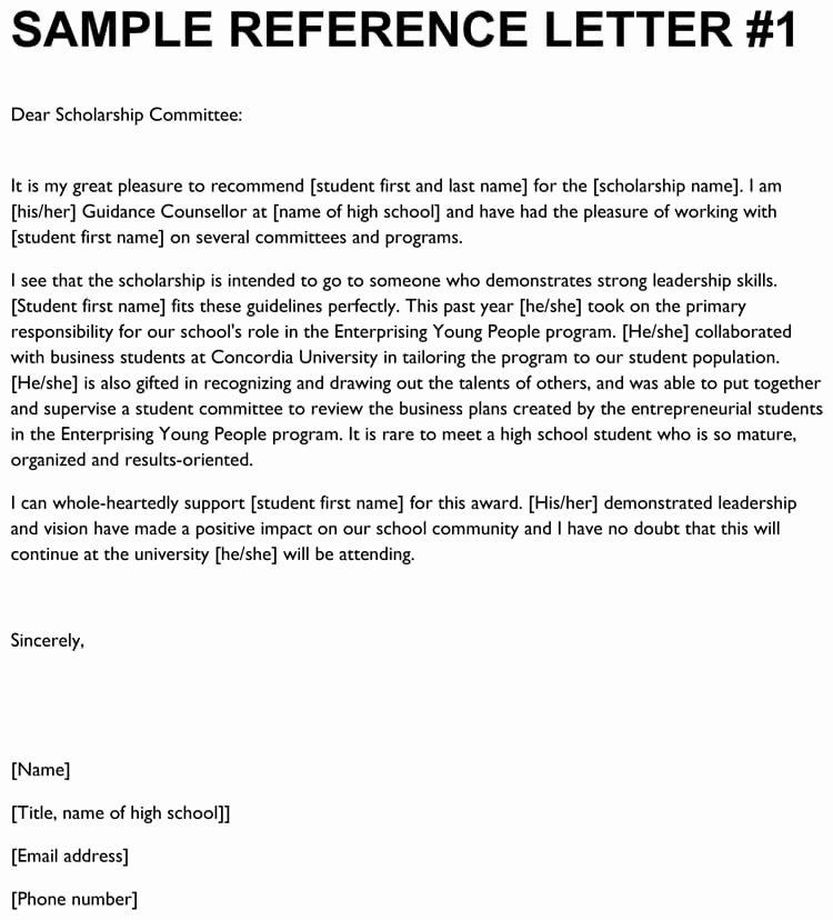 scholarship re mendation letter samples