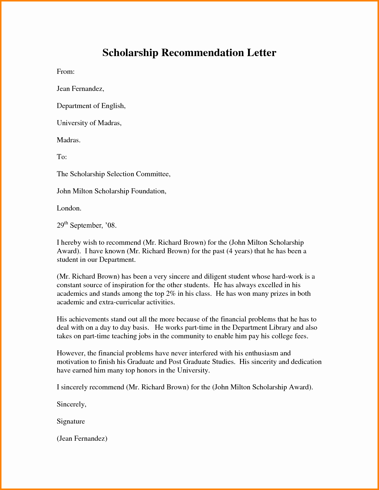 Scholarship Letters Of Recommendation Template Best Of Scholarship Re Mendation Letter