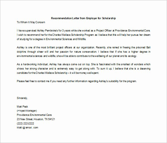 Scholarship Letters Of Recommendation Template Elegant 27 Letters Of Re Mendation for Scholarship Pdf Doc