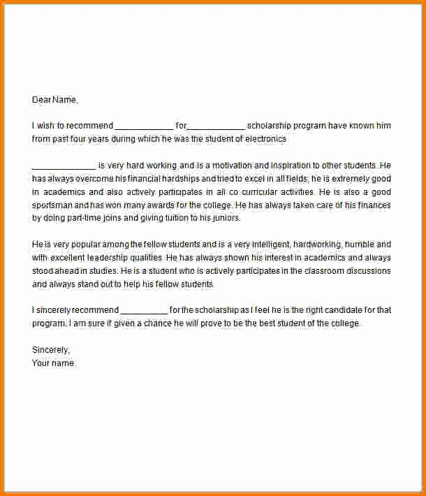 Scholarship Letters Of Recommendation Template Lovely Letter Re Mendation for Scholarship