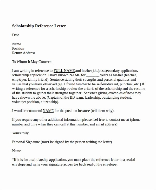 Scholarship Letters Of Recommendation Template Luxury 6 College Reference Letter Templates Free Sample