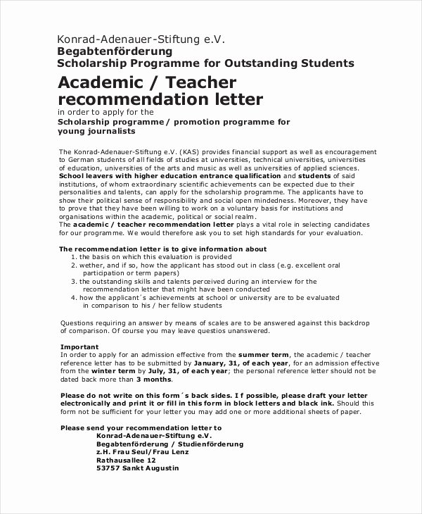 Scholarship Letters Of Recommendation Template Luxury Scholarship Re Mendation Letter Free Sample Example