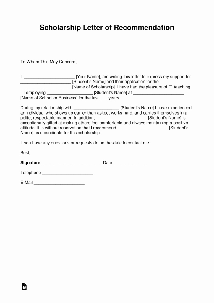 Scholarship Letters Of Recommendation Template New Free Re Mendation Letter for Scholarship Template with