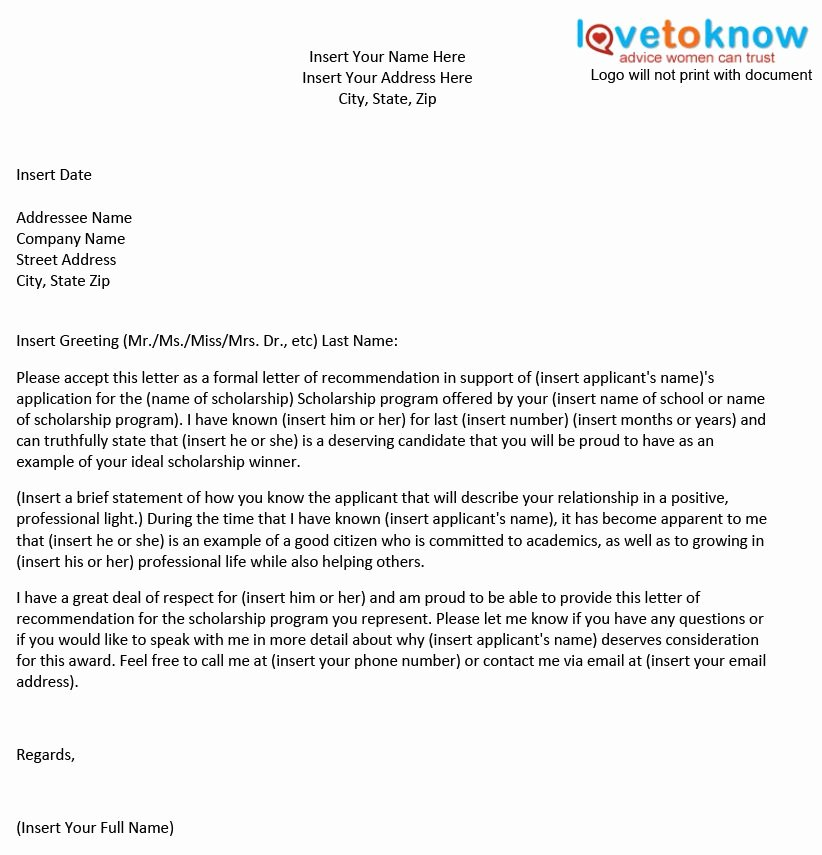 Scholarship Letters Of Recommendation Template New Personal Scholarship Re Mendation Letter