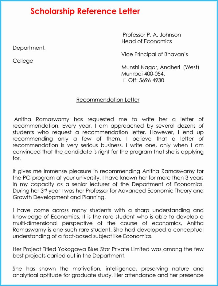 Scholarship Letters Of Recommendation Template New Scholarship Reference Re Mendation Letters 7 Sample